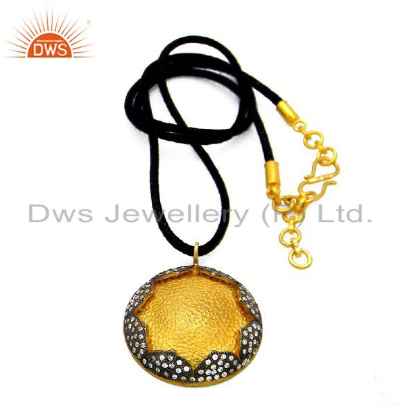 22K Yellow Gold Plated Sterling Silver Cubic Zirconia Pendant With Black Cord