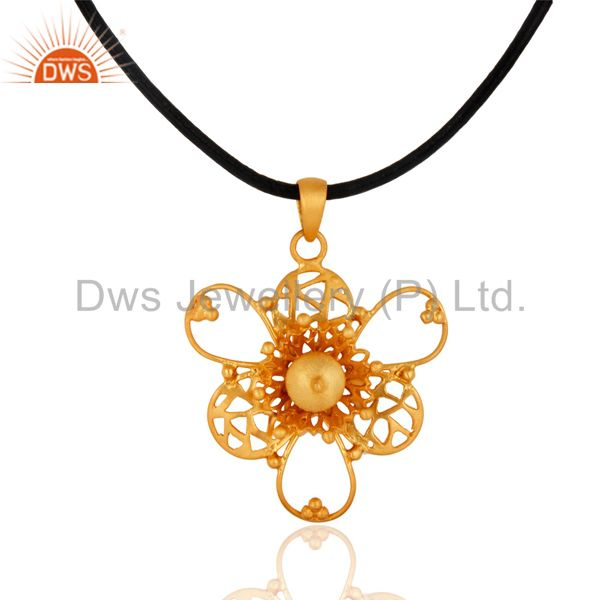 Beautifully Filigree Designed 18K Gold GP 925 Sterling Silver Pendant With Out S