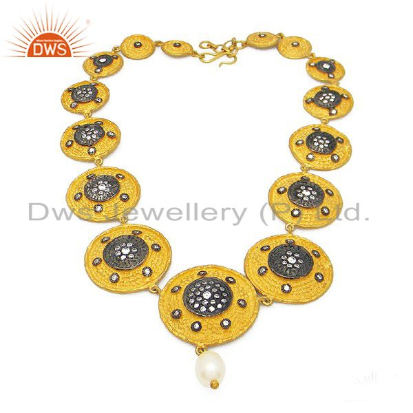 18K Gold Plated Sterling Silver Pearl And CZ Disc Designer Necklace