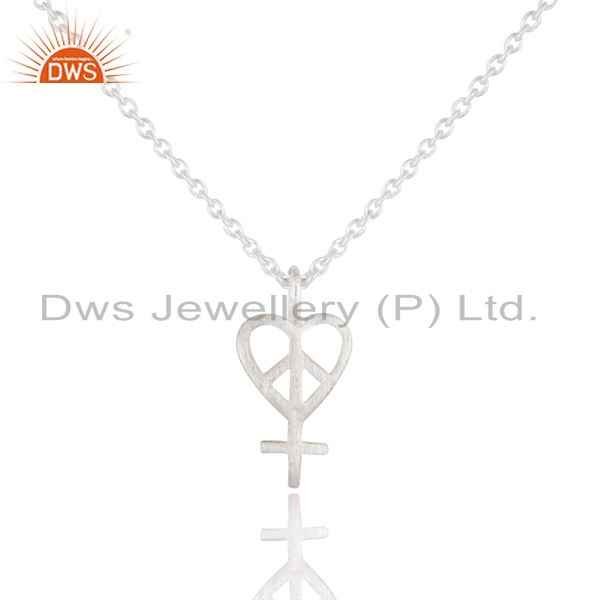 Handmade peace sign 925 sterling silver pendant with chain jewelry for gift
