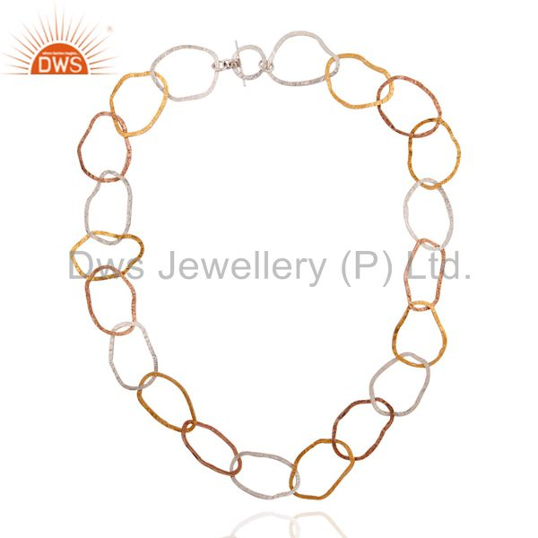 Hand Hammered Solid 925 Sterling Silver 18k Yellow Gold Plated Necklace