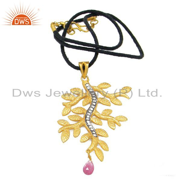 18K Gold Plated Sterling Silver Tourmaline And CZ Textured Leaf Pendant Necklace