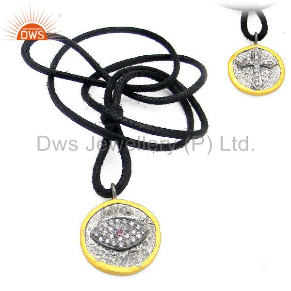 Black Oxidized Sterling Silver White Cubic Zirconia Evil Eye Pendant With Cord