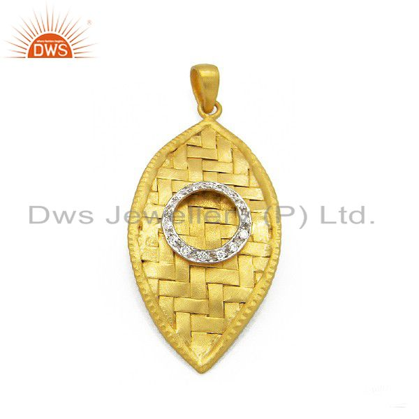 22K Yellow Gold Plated Sterling Silver Cubic Zirconia Woven Style Pendant