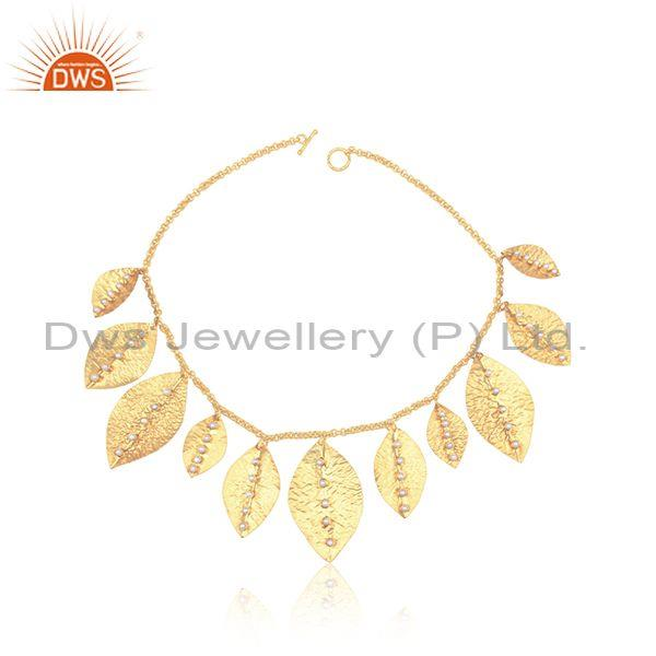 Textured Bold Multi Leaf Designer Gold on Fashion Pearl Necklace