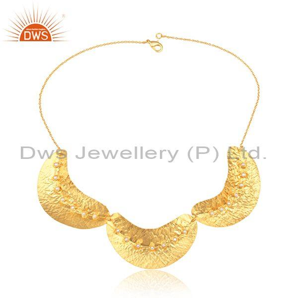 Handmade Bold Design Gold on Fashion Necklace with Pearl