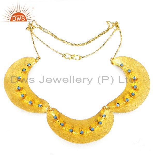 22K Yellow Gold Plated Sterling Silver Turquoise Gemstone Designer Necklace