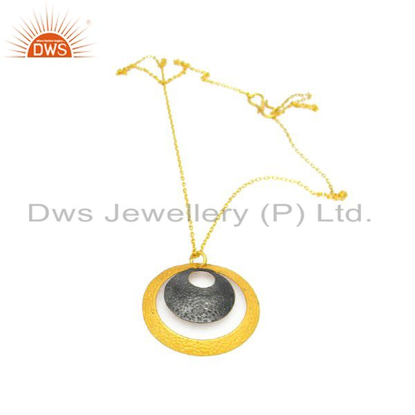 18K Yellow Gold Plated Sterling Silver Hammered Disc Design Pendant With Chain