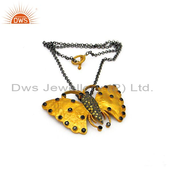 Oxidized and 22k gold plated sterling silver cz butterfly pendant with chain