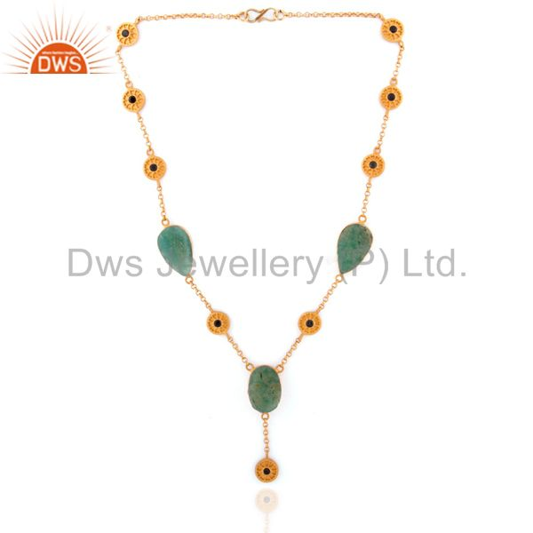 Natural ruby 925 sterling silver chrysoprase gemstone neckalce 18k gold plated