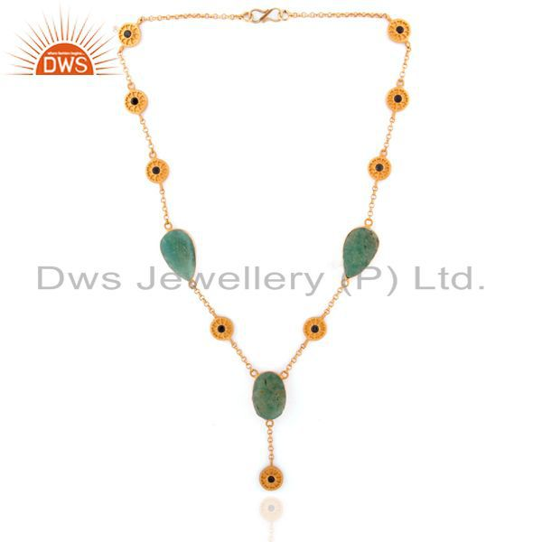 Natural chrysoprase 925 sterling silver gold plated blue sapphire necklace