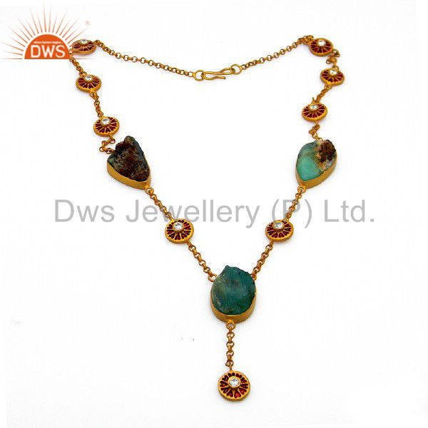 22K Yellow Gold Plated Sterling Silver Chrysoprase Gemstone And CZ Necklace