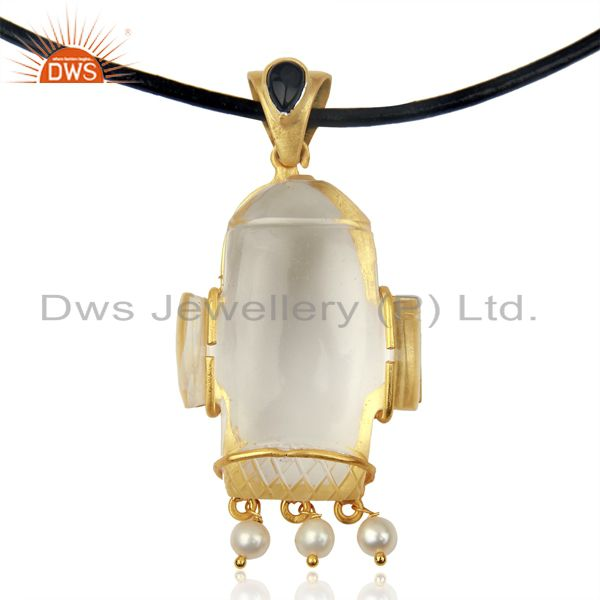 22K Gold Plated Sterling Silver Crystal Quartz And Pearl Pendant With Black Cord