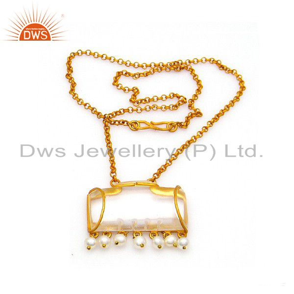 22K Gold Plated Sterling Silver Crystal Quartz And Pearl Pendant With Chain