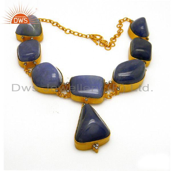 22K Yellow Gold Plated Sterling Silver Blue Chalcedony And CZ Choker Necklace