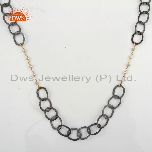 Black rhodium plated sterling silver natural pearl beaded necklace