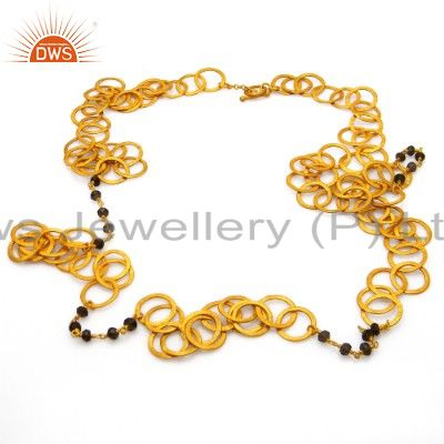 22K Yellow Gold Plated Sterling Silver Smoky Quartz Multi Circle Link Necklace