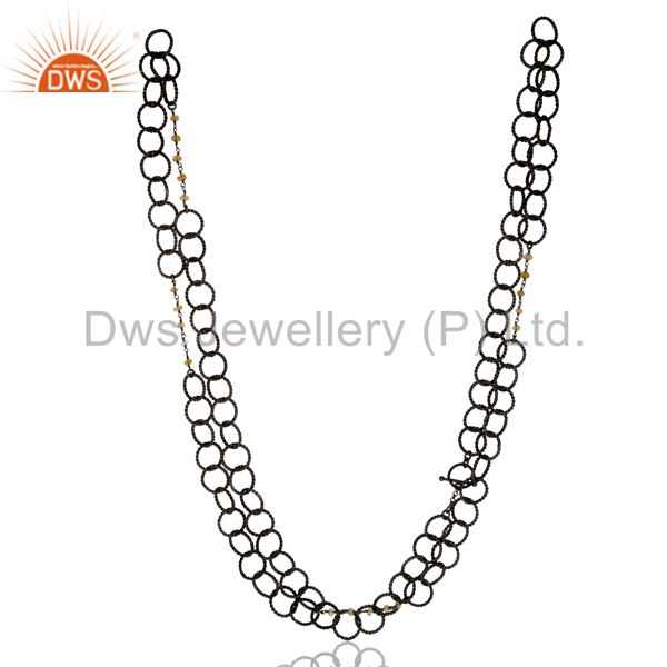 Handmade Sterling Silver Citrine Gemstone Link Chain Necklace With Rhodium Plate