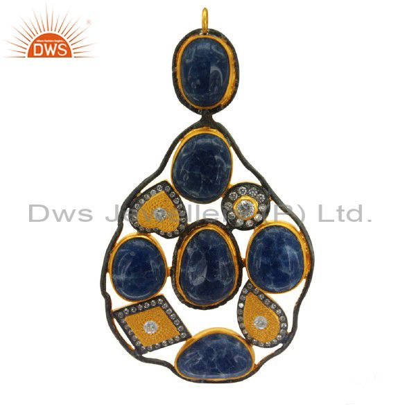 Handmade 18k gold on sterling silver dyed blue sapphire and cz designer pendant