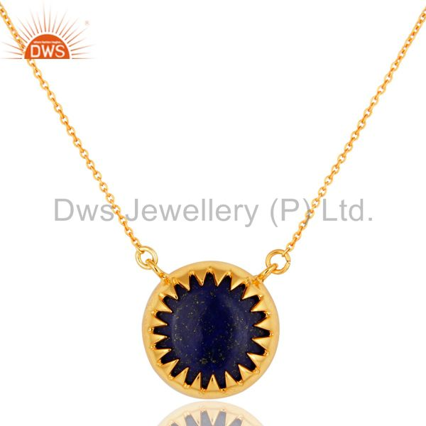 18K Yellow Gold Over Brass Lapis Lazuli Gemstone Pendant With Chain
