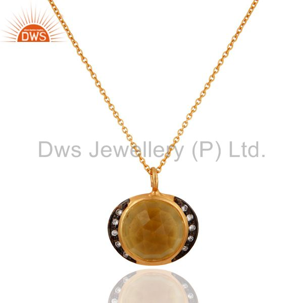 Handmade Natural Citrine Gemstone 925 Sterling Silver Designer Pendant Necklace
