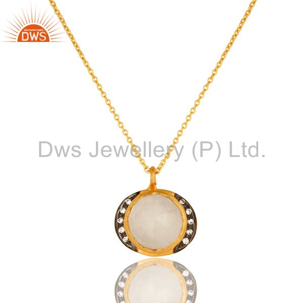22K Yellow Gold Plated Sterling Silver White Moonstone And CZ Pendant Necklace