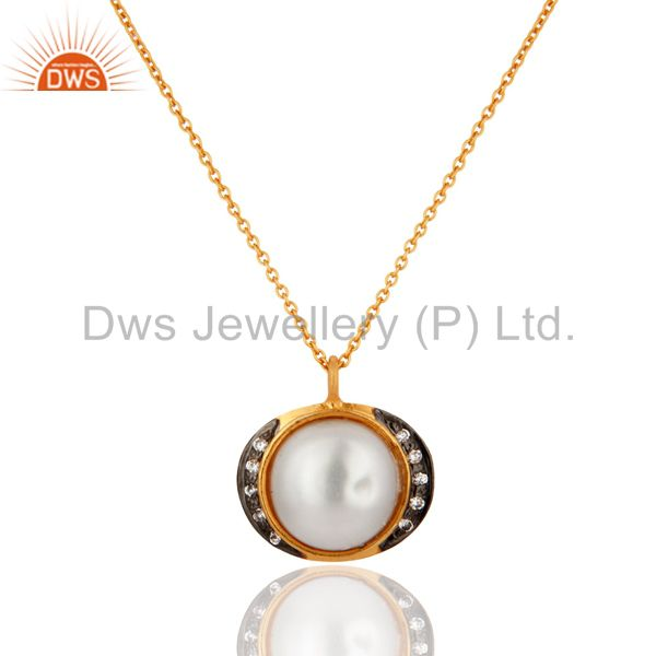 18K Gold Plated Sterling Silver 925 Natural Pearl Pendant Necklace Gift Jewelry