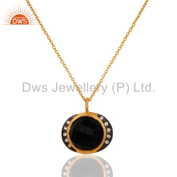 925 Sterling Silver Natural Black Onyx Gemstone Pendant With Chain Necklace
