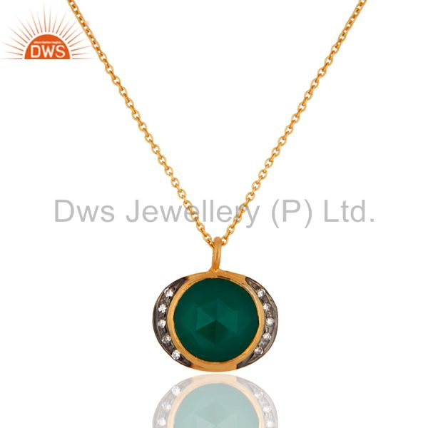 925 Sterling Silver Green Onyx Gold Plated Pendant With Chain Necklace