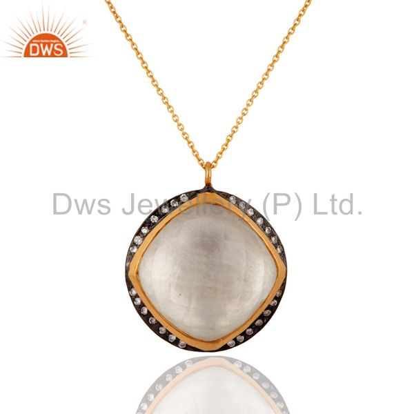 Natural crystal quartz 925 sterling silver pendant necklace with gold plated
