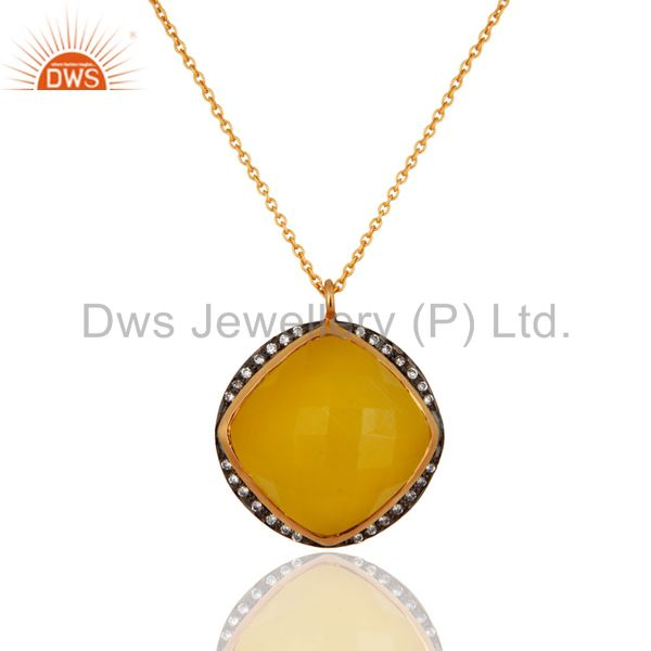 Handmade gold plated sterling silver yellow moonstone designer pendant jewelry