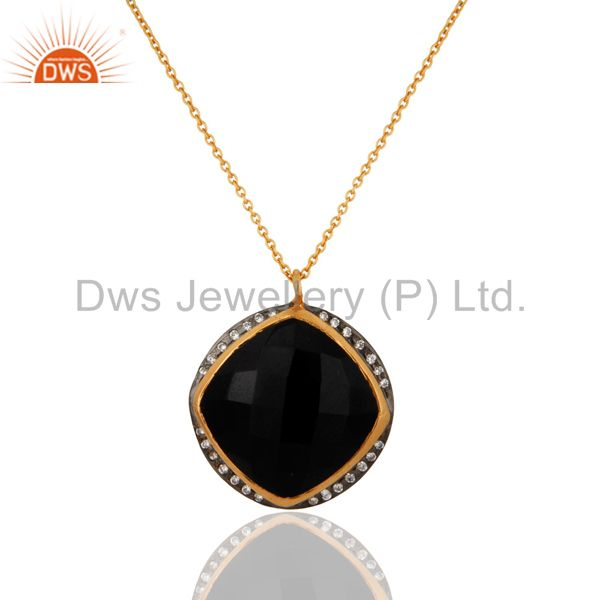Semi Precious Stone Black Onyx Pendant In 18k Gold Over Sterling Silver Jewelry