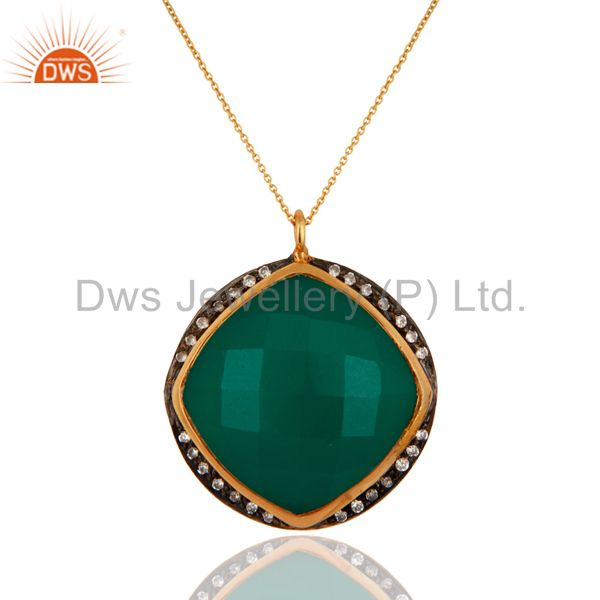 18k gold plated natural green onyx gemstone 925 sterling silver pendant necklace