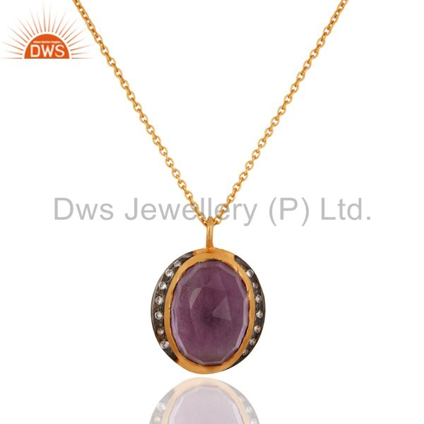 Handmade natural amethyst gemstone 925 sterling silver gold plated chain pendant
