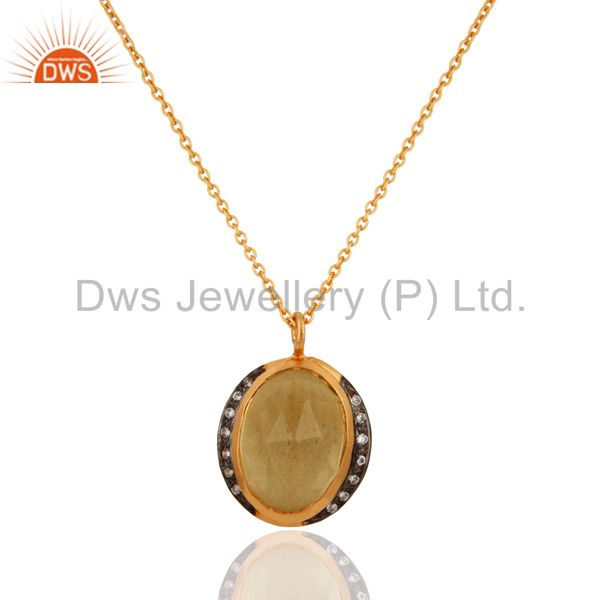 Handmade 18K Gold Plated Citrine Pendant 925 Sterling Silver Designer Jewelry