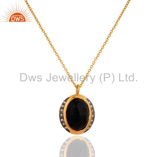 18K Yellow Gold Over Sterling Silver Black Onyx And CZ Pendant With Chain