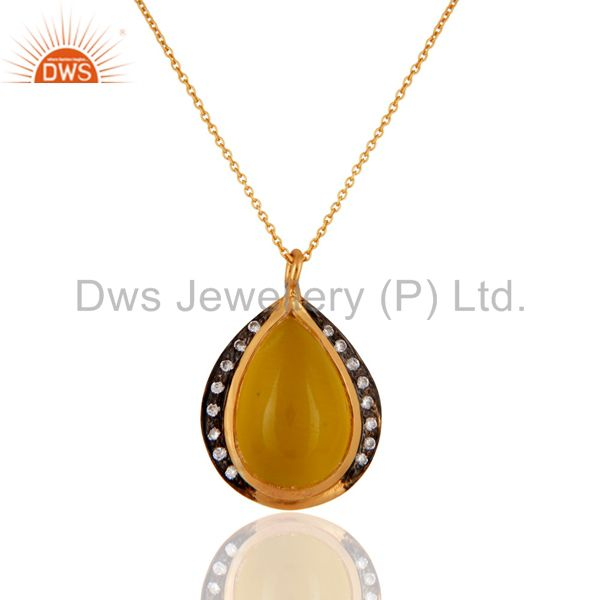 Natural Yellow Moonstone 925 Sterling Silver Gold Plated Pendant With Chain