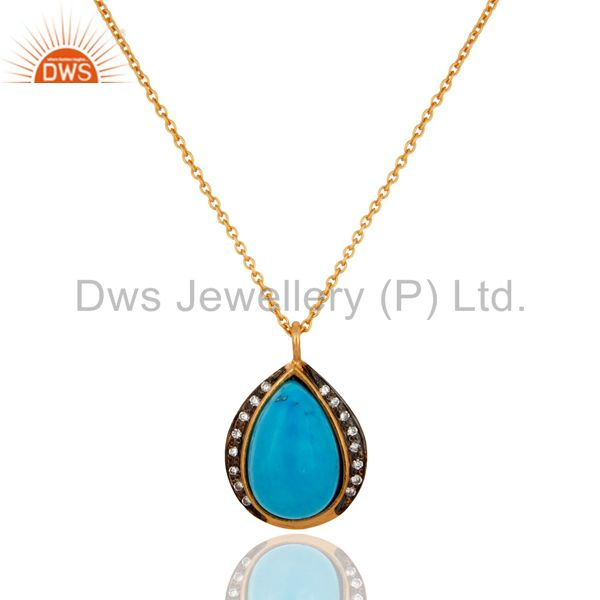 Natural Gemstone Turquoise Bezel Set Gold Plated 925 Sterling Silver Pendant