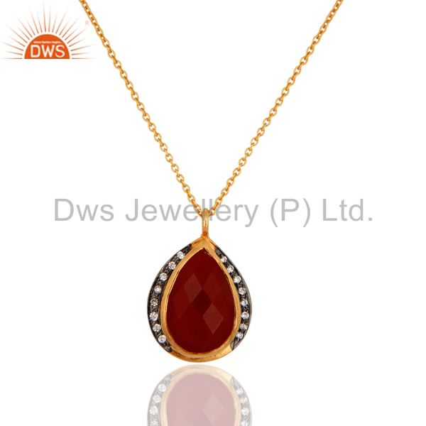 925 Sterling Silver Red Onyx & Cubic Zirconia Pendant Neckalce Gift Jewelry