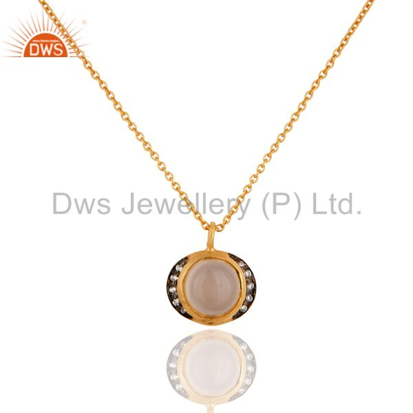 18K Yellow Gold Over Sterling Silver Rose Chalcedony And CZ Pendant With Chain