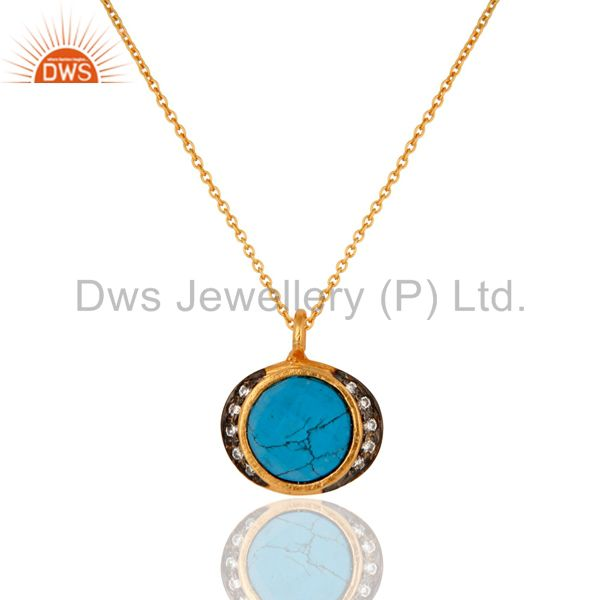 "22K Gold Plated Sterling Silver Turquoise Gemstone Pendant With 17"" In Chain"