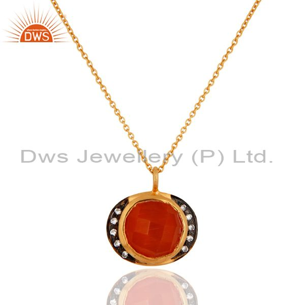 Gold Plated Sterling Silver Red Onyx & Cubic Zirconia Pendant Neckalce Gift Jew