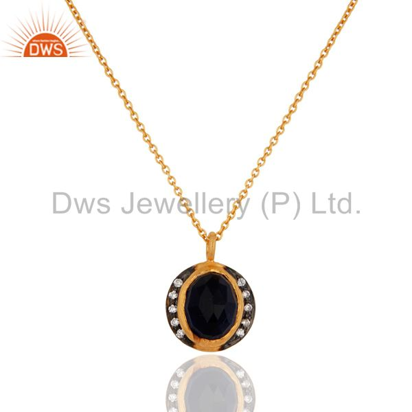 18k Gold Plated Blue Corundum Gemstone 925 Sterling Silver Pendant Necklace