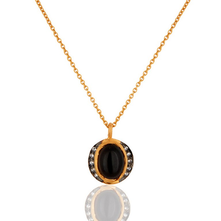 Smoky Quartz And Cubic Zirconia Pendant With Chain In 18K Gold On Silver