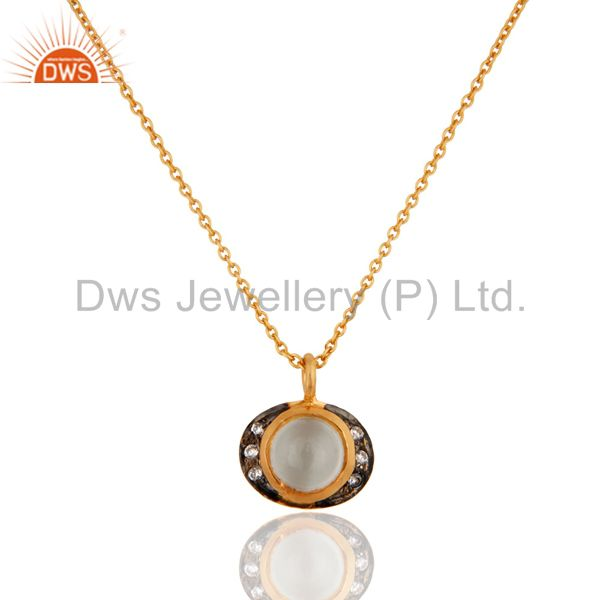 18K Gold Plated Sterling Silver White Moonstone And Cubic Zirconia Pendant Chain