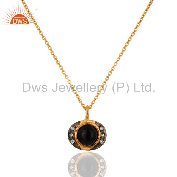 18K Gold Plated 925 Sterling Silver Black Onyx Gemstone Pendant Necklace Jewelry