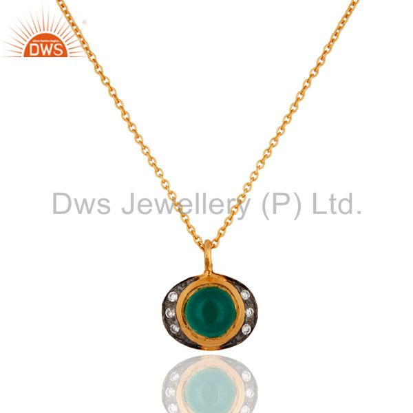 18ct Gold Plated Plated on Sterling Silver Pendant With Green Onyx Gemstone