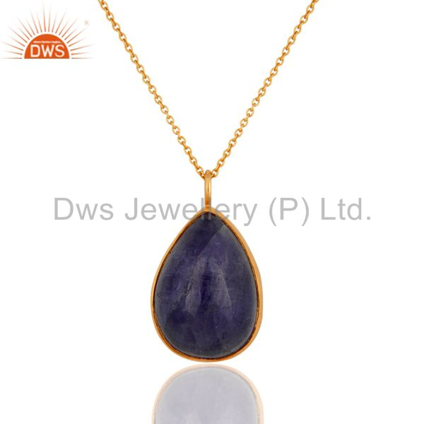 Natural Tanzanite Gemstone 18K Gold Plated Sterling Silver Pendant With Chain