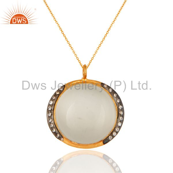18K Yellow Gold Plated Sterling Silver CZ And White Moonstone Pendant Necklace