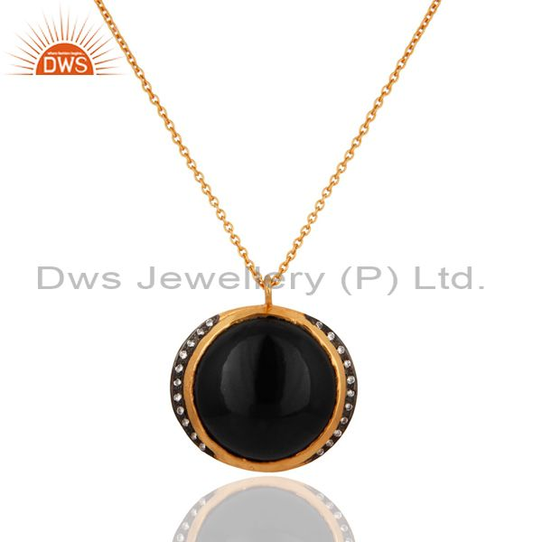 925 Sterling Silver Black Onyx Gemstone Pendant Necklace With White Zircon